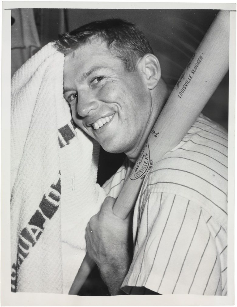 Mickey Mantle photograph. 7 x 9¼ in. Estimate $800-1,200. This lot is offered in The Golden Age of Baseball, Selections of Works from the National Pastime Museum on 19-20 October 2016 at Christie's in New York