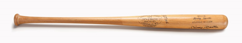 Mickey Mantle professional model bat. 35 in, 33.1 oz. Estimate $60,000-80,000. This lot is offered in The Golden Age of Baseball, Selections of Works from the National Pastime Museum on 19-20 October 2016 at Christie's in New York