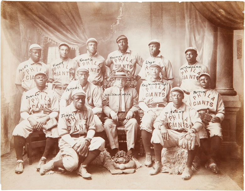 1909 Philadelphia Giants team photograph. 13 x 10 in. Estimate $10,000-15,000. This lot is offered in The Golden Age of Baseball, Selections of Works from the National Pastime Museum on 19-20 October 2016 at Christie's in New York