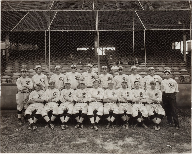 1914 Providence Grays team photograph. Image, 13½ x 10¾ in, framed, 18 x 15 in. Estimate $15,000-20,000. This lot is offered in The Golden Age of Baseball, Selections of Works from the National Pastime Museum on 19-20 October 2016 at Christie's in New York