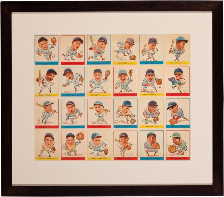 "1938 Goudet ""heads up"" uncut sheet. Framed, 20 x 18¾ in. Estimate $20,000-30,000. This lot is offered in The Golden Age of Baseball, Selections of Works from the National Pastime Museum on 19-20 October 2016 at Christie's in New York"