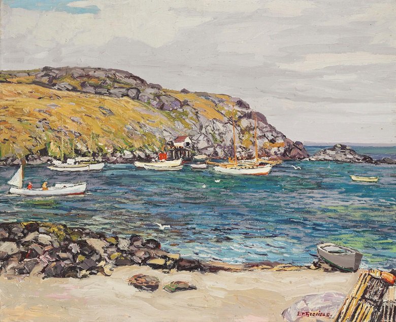 Edward Willis Redfield (1869-1965), Monhegan Fishing Boats, 1928. Oil on canvas. 26 x 31 ¾ in (66 x 80.6 cm). Estimate $100,000-150,000. This work is offered in American Art Online, 16-22 September