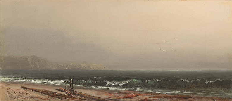 Francis Augustus Silva (1835-1886), Cape Elizabeth, Maine, 1883. Oil on canvas. 6 ¾ x 15 ½ in (17.1 x 39.3 cm). Estimate $40,000-60,000. This work is offered in American Art Online, 16-22 September