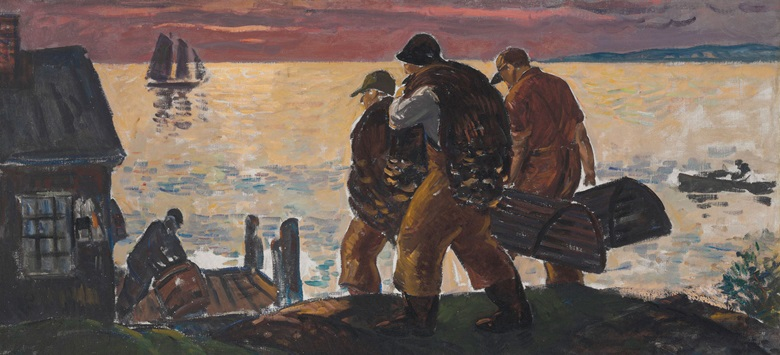 Gifford Beal (1879-1956), Lobstermen on the Shore. Oil on canvas 28 ⅛ x 60 in (71.4 x 152.4 cm). Estimate $50,000-70,000. This work is offered in American Art Online, 16-22 September