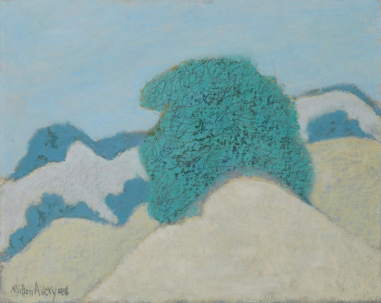 Milton Avery (1885-1965), Dune Bushes, 1958. Oil on canvasboard. 16 x 20 in (40.6 x 50.8 cm). Estimate $40,000-60,000. This work is offered in American Art Online, 16-22 September. © 2016 Milton Avery Trust  Artists Rights Society (ARS), New York