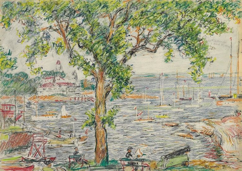 Reynolds Beal (1867-1951), Echo Bay, New Rochelle, 191. Coloured crayon, charcoal and pencil on paperboard. 9 ⅞ x 14 in (25.1 x 35.6 cm). Estimate $10,000-15,000. This work is offered in American Art Online, 16-22 September