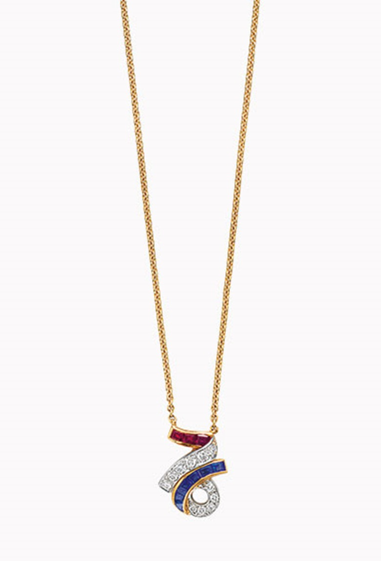 A diamond, sapphire and ruby pendant necklace, by Oscar Heyman & Brothers. The fine-link 18k-gold neck chain suspending a circular-cut diamond, calibré-cut sapphire and ruby 76, circa 1976, 16 in, mounted in platinum and 18k-gold, engraved NANCY, LOVE DEEDIE-TOM', in an Oscar Heyman & Brothers grey suede case. Estimate $2,000-3,000. This lot will be offered in The Private