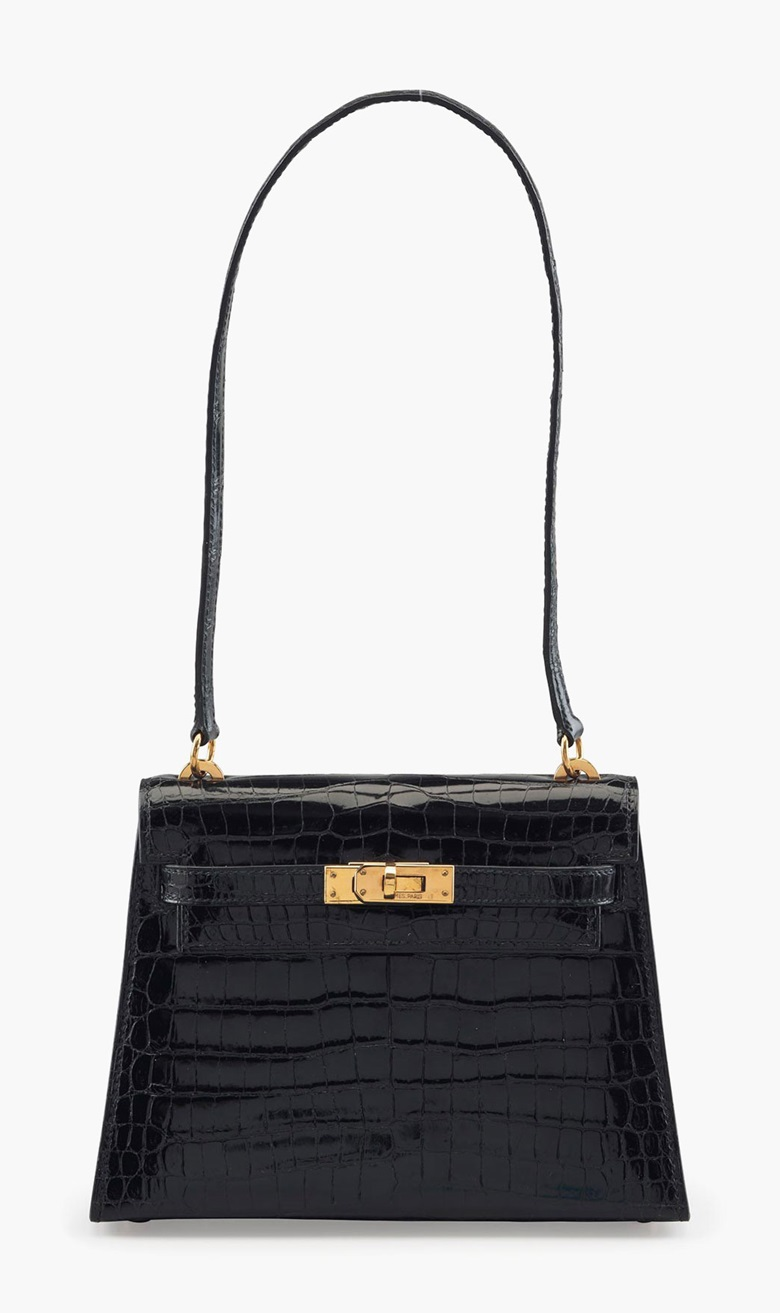 A shiny black porosus crocodile Mini Kelly 20 shoulder bag, Hermès, 1987. Estimate $10,000-15,000. This lot will be offered in The Private Collection of President and Mrs. Ronald Reagan, 21-22 September at Christies in New York