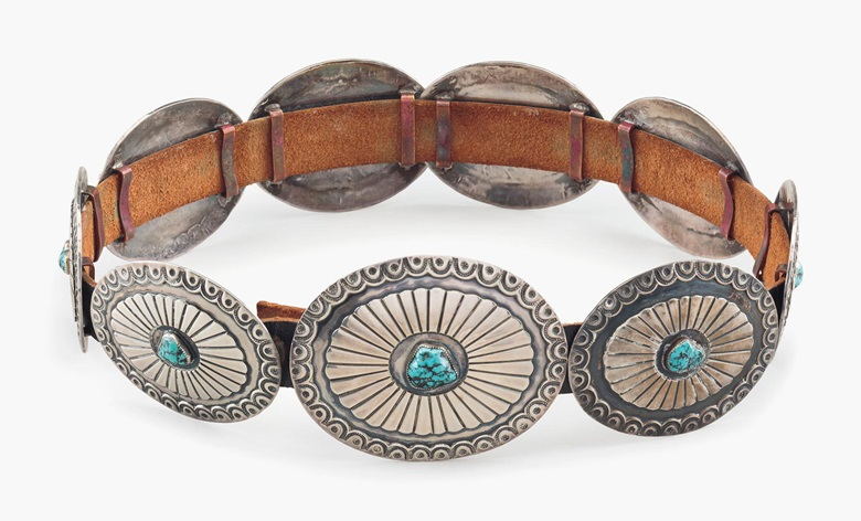 A silver and turquoise Navajo concho belt, C.M. Yazzie. Estimate $200-300. This lot is offered in the Private Collection of President and Mrs. Ronald Reagan Online Auction, 19-28 September