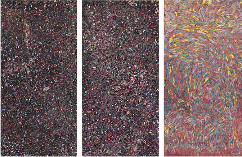 Bharti Kher (b. 1969), Mother of Anything Possible, Anytime, 2006. Bindis on aluminum sheet; triptych. 95¾ x 47¾ in (243.2 x 121.3 cm) each; 95¾ x 144 in (243.2 x 365.8 cm) overall. Estimate $200,000–300,000. This work is offered in South Asian Modern + Contemporary Art on 14 September 2016 at Christie's in New York