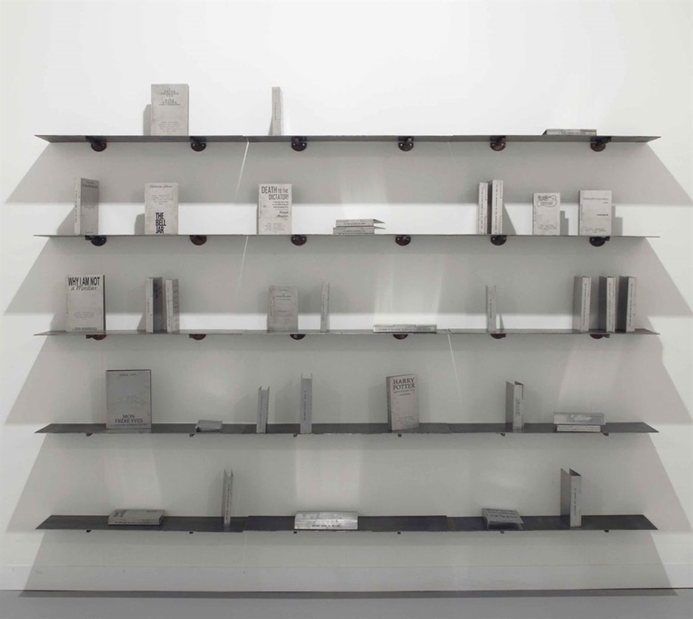 Shilpa Gupta (b. 1976), Someone Else A Library of 35 Books Written Anonymously or Under Pseudonyms, 2011-12. Etched stainless-steel books and shelves. 7⅞ x 10¼ in (20 x 26 cm) each book; 96 in (244 cm) overall each shelf; 96 x 8½ x 72 in (244 x 21.6 x 188.9 cm) overall installation. Estimate $40,000–60,000. This work is offered in South Asian Modern + Contemporary Art on