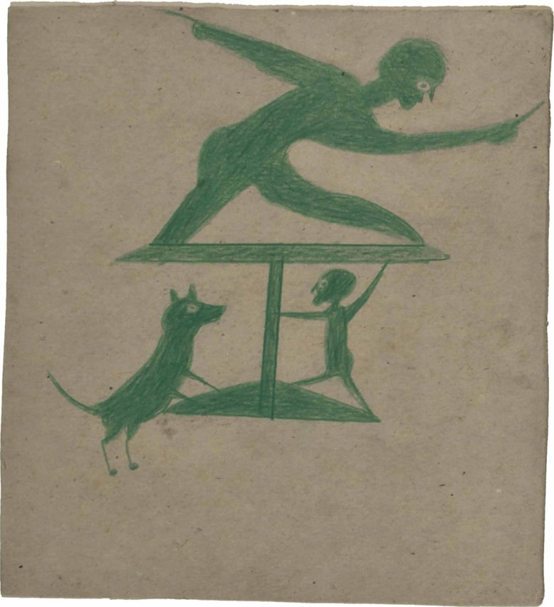 Bill Traylor (1854-1949), Green Construction with Two Men and a Dog, 1939-1942. Crayon on card, 10⅜ x 9⅝ in. Estimate $30,000-50,000. This lot is offered in Important American Furniture, Silver, Outsider and Folk Art on 20 September 2016 at Christie's in New York, Rockefeller Plaza