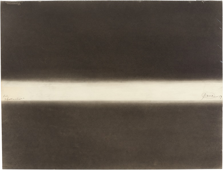 Property from the Collection of Nan Rosenthal and Henry B. Cortesi. Otto Piene (1928–2014), Schallmaneb, 1959. Graphite and charcoal on paper. Titled 'Schallmaneb' (left edge); signed and dated 'Piene 59' (right edge). 19¾ x 25½ in (50.1 x 64.7 cm). This work is offered in First Open  Post-War and Contemporary Art  NY on 28 September at