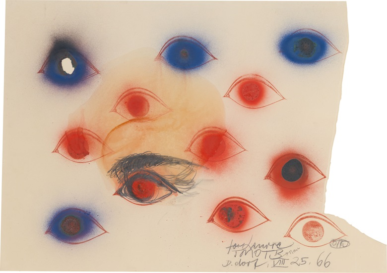 Property from the Collection of Nan Rosenthal and Henry B. Cortesi. Otto Piene (1928–2014), Untitled, 1966. Gouache, pigment, fire and graphite on paper. Signed, dated and inscribed 'for Lenore TMOTB nan Dusseldorf VII 25, 66 OTTO' (lower right). 28½ x 40 in (72.4 x 101.6 cm). This work is offered in First Open  Post-War and Contemporary Art  NY on 28 September at