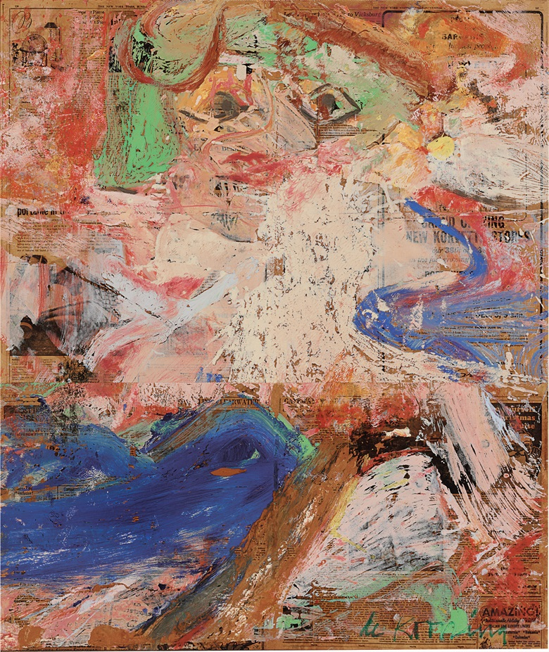 Property from the Collection of Mary Jane Garth. Willem de Kooning (1904–1997), Grand Opening, 1964. Oil on newsprint mounted on board. Signed 'de Kooning' (lower right). Estimate $400,000–600,000. This work is offered in First Open  Post-War and Contemporary Art  NY on 28 September at Christie's New York