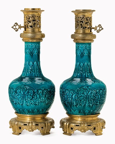 Kirill selects  A pair of ormolu-mounted French faience vases mounted as oil lamps. Late 19th century, attributed to Theodore Deck. 16½ in (40.6 cm) high. This lot was offered in Opulence on 10 October 2016 at Christie's in New York, Rockefeller Plaza