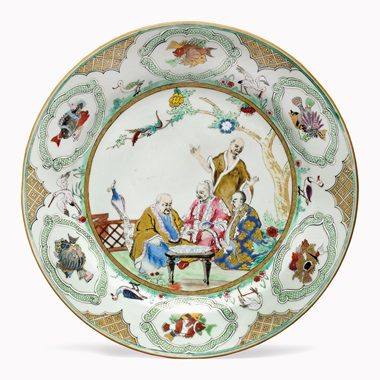 Kirill selects  A Chinese export famille rose Pronk Doctors large plate, circa 1738-1740. Enamelled after the design of Dutch artist Cornelis Pronk for the VOC. 10 in (25.5 cm) diameter. This work was offered in Living with Art, 13-14 October 2016 at Christie's in New York and sold for $4,000