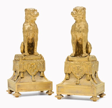 Kirill selects  A pair of French ormolu chenets. In the Regence style, 19th century. 13¾ in (35 cm) high, 5¾ in (14.6 cm) wide. This lot was offered in Opulence on 10 October 2016 at Christie's in New York and sold for $1,250