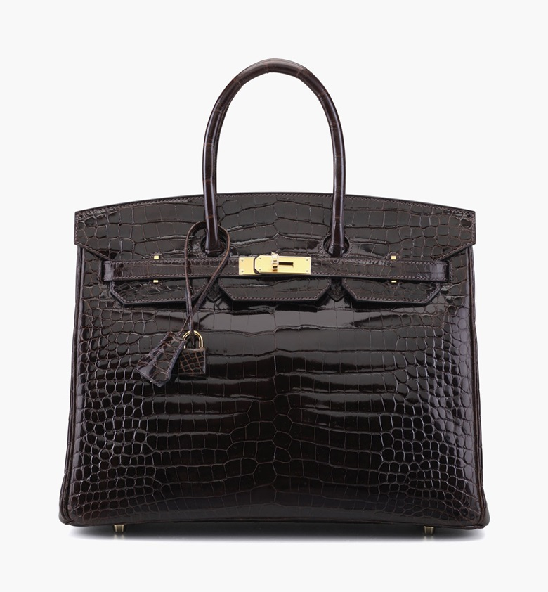 A shiny cocoan porosus crocodile Birkin 35 bag. Hermès, 2012. 14 in wide x 10 in high x 7 in deep. Estimate $50,000-60,000. This lot is offered in Handbags & Accessories on 13-22 September 2016 at Christie's in New York, Rockefeller Plaza