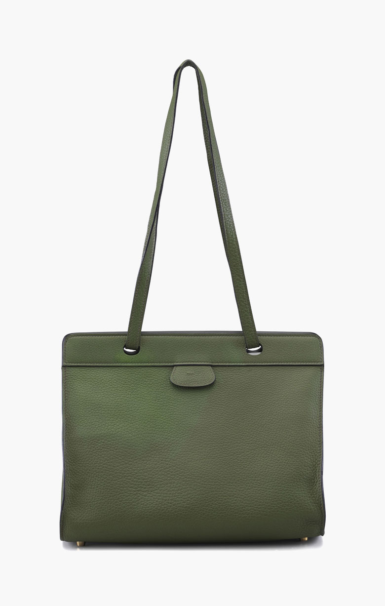 A vert olive clemence leather Muso tote bag. Hermès, 2000. 12 in wide x 10 in high x 6 in deep. Estimate $400-600. This lot is offered in Handbags & Accessories on 13-22 September 2016 at Christie's in New York, Rockefeller Plaza