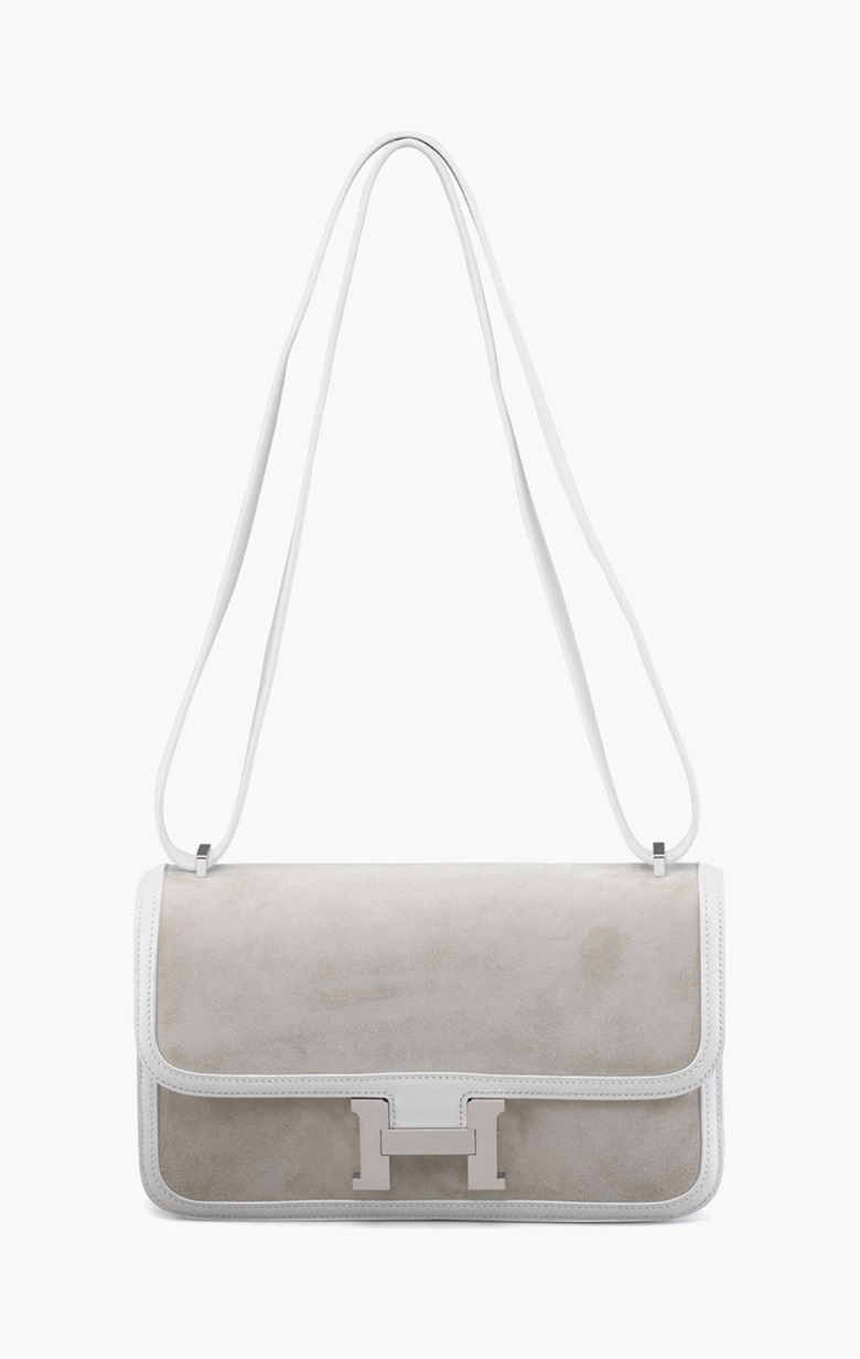 A white swift leather & veau doblis Constance Elan bag. Hermès, 2015. 10 in wide x 6 in high x 2 in deep. Estimate $8,000-10,000. This lot is offered in Handbags & Accessories on 13-22 September 2016 at Christie's in New York, Rockefeller Plaza