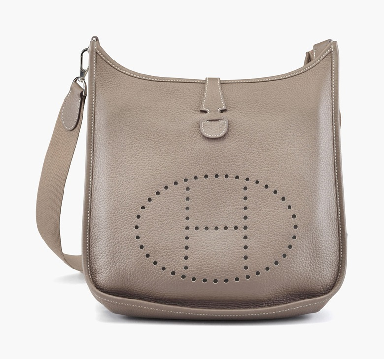 An etoupe clemence leather Evelyne III PM bag. Hermès, 2011. 11½ in wide x 10½ in high x 3½ in deep. Estimate $1,000-$1,500. This lot is offered in Handbags & Accessories on 13-22 September 2016 at Christie's in New York, Rockefeller Plaza