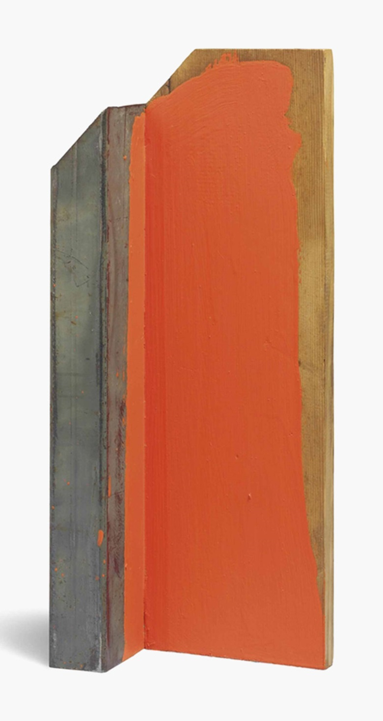Kishio Suga (b. 1944), Kyokuchi. Metal, wood and acrylic, 48.8 x 21 x 10 cm. This lot was offered in Asobi Japanese & Korean Post-War Art on 11 October 2016 at Christie's in London, King Street and sold for £6,000
