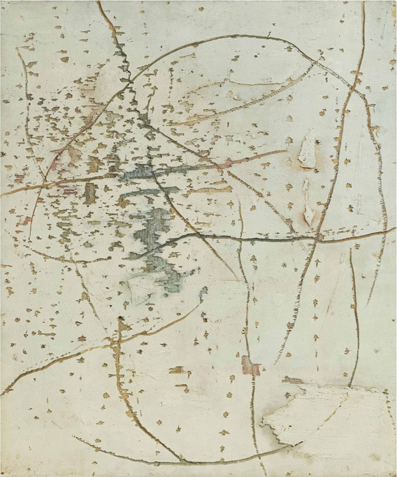 Yoshishige Saito (1904-2001), Work (White). Oil on wood panel, then drilled, 72.7 x 60.6 cm. This lot was offered in Asobi Japanese & Korean Post-War Art on 11 October 2016 at Christie's in London, King Street
