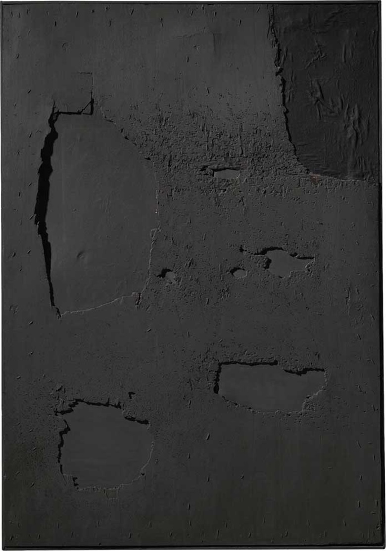 Alberto Burri (1915-1995), Nero Legno, 1961. Wood, fabric and acrylic on board. Signed and dated 'Burri 61' (on the reverse). 65⅜ x 45¼ in (166 x 115 cm). This work was offered in The Italian Sale on 6 October 2016 at Christie's in London, King Street