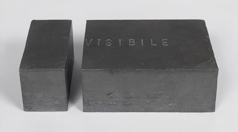 Giovanni Anselmo (b. 1934), Invisibile (Invisible), 1970-1973. Lead. (i) 2½ x 2¾ x 4¾ in (6.5 x 7 x 12 cm) (ii) 2½ x 6⅝ x 4¾ in (6.5 x 17 x 12 cm). This work is one of six unique versions in different dimensions. This work was offered in The Italian Sale on 6 October 2016 at Christie's in London, King Street and sold for £173,000