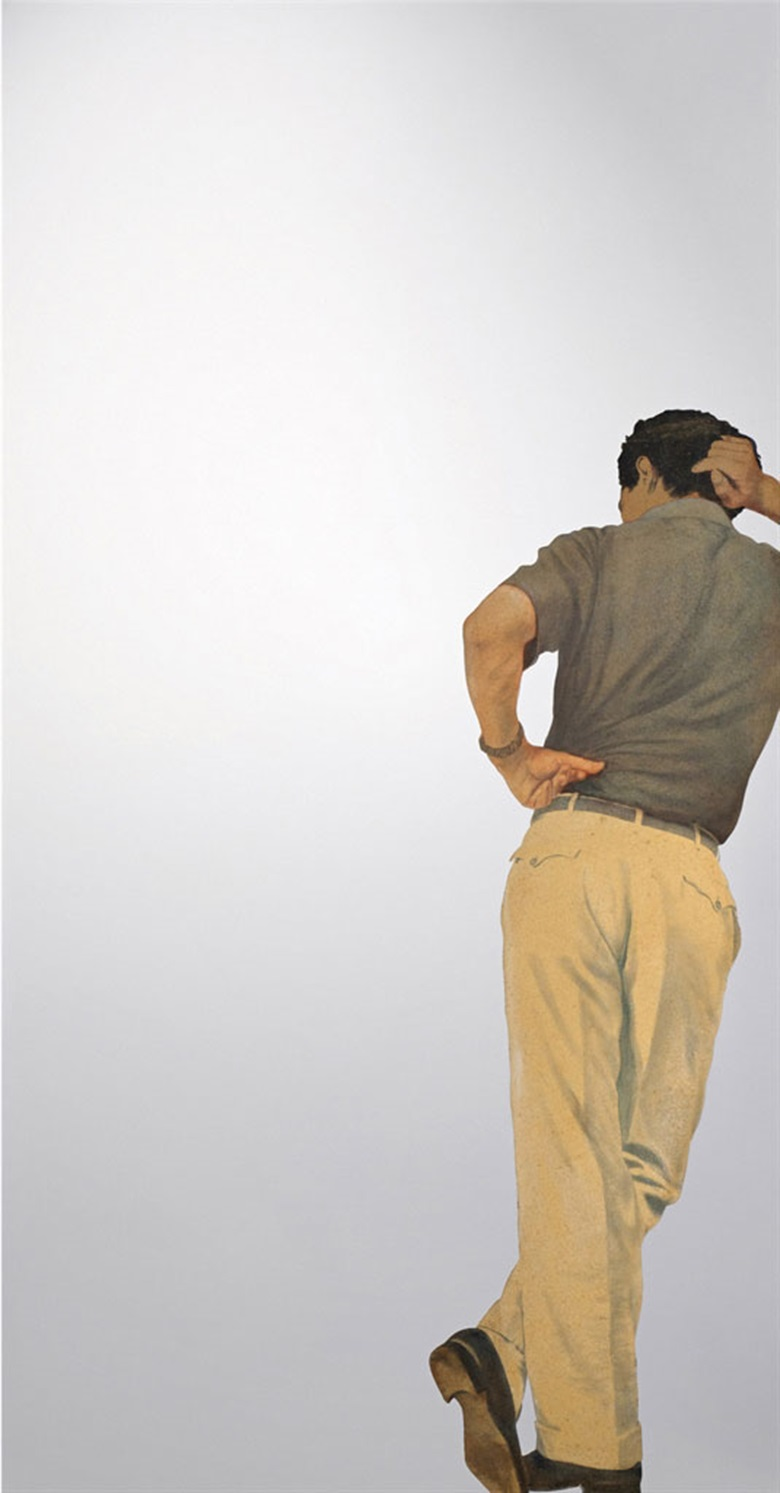 Michelangelo Pistoletto (b. 1933), Uomo appoggiato (Leaning Man), 1966. Painted tissue paper on polished stainless steel. 90½ x 47¼ in (230 x 120 cm). Signed, titled and dated 1966 Michelangelo Pistoletto uomo appoggiato (on the reverse). This work was offered in The Italian Sale on 6 October 2016 at Christie's in London, King Street and sold for £1,925,000