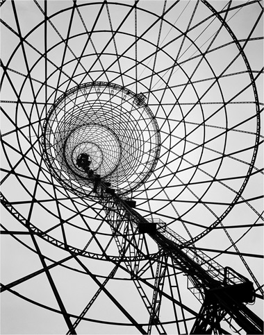 The Shukhov Tower — a majestic paraboloid of meshed steel. Photo Fine Art ImagesHeritage ImagesScala, Florence