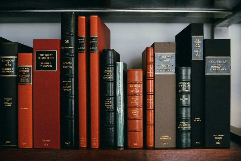 A bookshelf containing inscribed and first edition books. Photograph by Bill Gentle