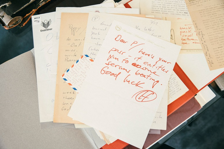 A collection of autograph letters written by author and journalist Hunter S. Thompson. Photograph by Bill Gentle