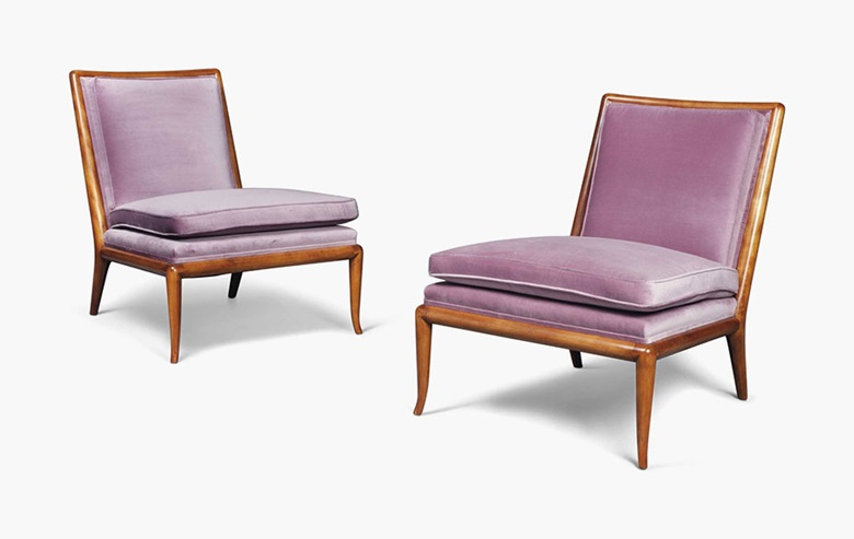 T.H. Robsjohn-Gibbings (1905-1976), A pair of Slipper chairs, circa 1950. 31¼ in (79.5 cm) high; 26½ in (67.5 cm) wide; 33½ in (85 cm) deep. Estimate £5,000-8,000. This lot is offered in Gordon Watson The Collector  on 13 October 2016 at Christie's in London, South Kensington
