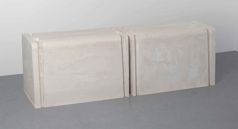 Rachel Whiteread (b.  1963), Untitled (Double). Plaster and polystyrene, in two parts, each 28¾ x 44⅛ x 25¼ in (73 x 112 x 64 cm). Estimate £70,000-100,000. This lot is offered in Post-War & Contemporary Art Day Auction on 7 October 2016 at Christie's in London, King Street
