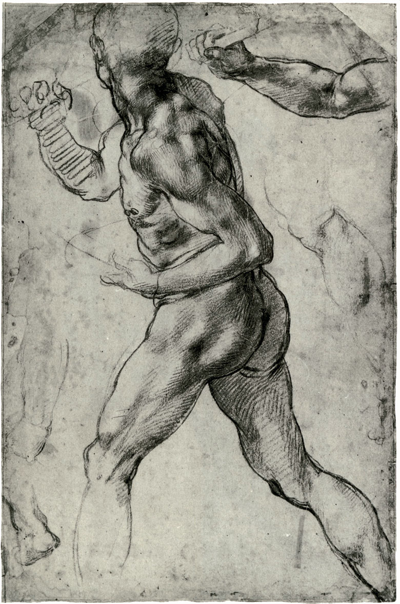 Michelangelo, Figure Study of a Running Man, c. 1560, chalk and pencil on paper. Teylers Museum, Haarlem, Netherlands