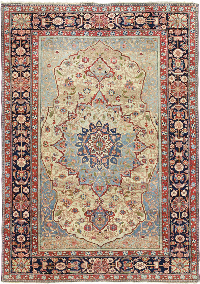 A Kashan U0027Mohtashamu0027 Rug. Central Persia, C. 1890. 6 Ft 6 In X 4 Ft 7 In  (197 Cm X 140 Cm). This Lot Was Offered In Oriental Rugs And Carpets On 18  October ...