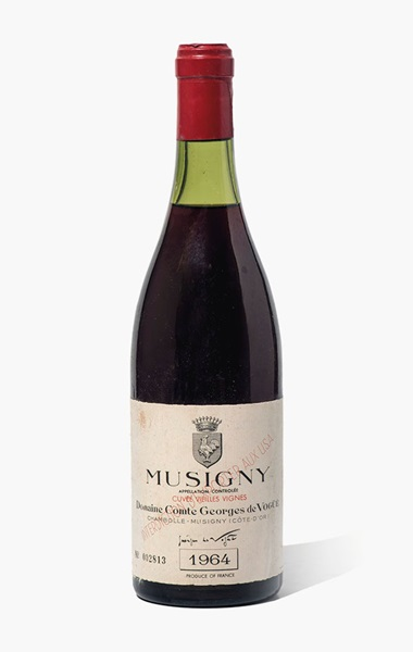 Comte Georges de Vogüé, Musigny Vielles Vignes 1964. 4 bottles per lot. Estimate £1,000-1,200. This lot is offered in Fine and Rare Wines from The Avery Family Cellar on 20 October 2016 at Christie's in London, King Street