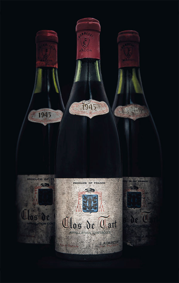 Mommessin, Clos de Tart 1945. 5 bottles per lot. Estimate £2,000-2,500. This lot is offered in Fine and Rare Wines from The Avery Family Cellar on 20 October 2016 at Christie's in London, King Street