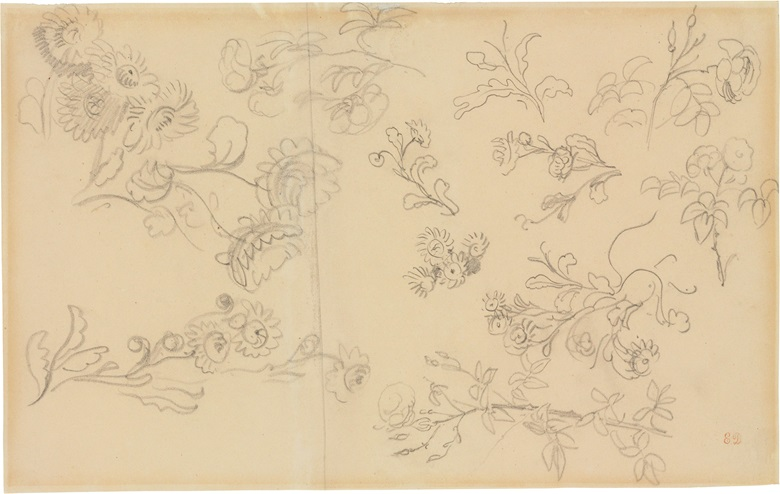 Ferdinand-Victor-Eugène Delacroix, Studies of Roses and Other Flowers. Pencil on two joined sheets of paper, 10⅝ x 16⅞ in (27 x 42.9 cm). Estimate $3,000-5,000. This lot is offered in Old Masters on 26 October 2016 at Christie's in New York, Rockefeller Plaza