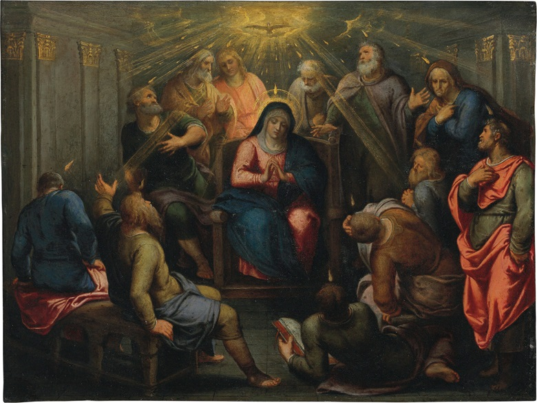 Otto Van Veen (Leiden c. 1556-1629 Brussels), The Pentecost. Oil on copper, stamped with the makers mark of Pieter Stas and the Antwerp hand, 9½ x 12⅝ in (24.2 x 32.1 cm). Estimate $15,000-25,000. This lot is offered in Old Masters on 26 October 2016 at Christie's in New York, Rockefeller Plaza