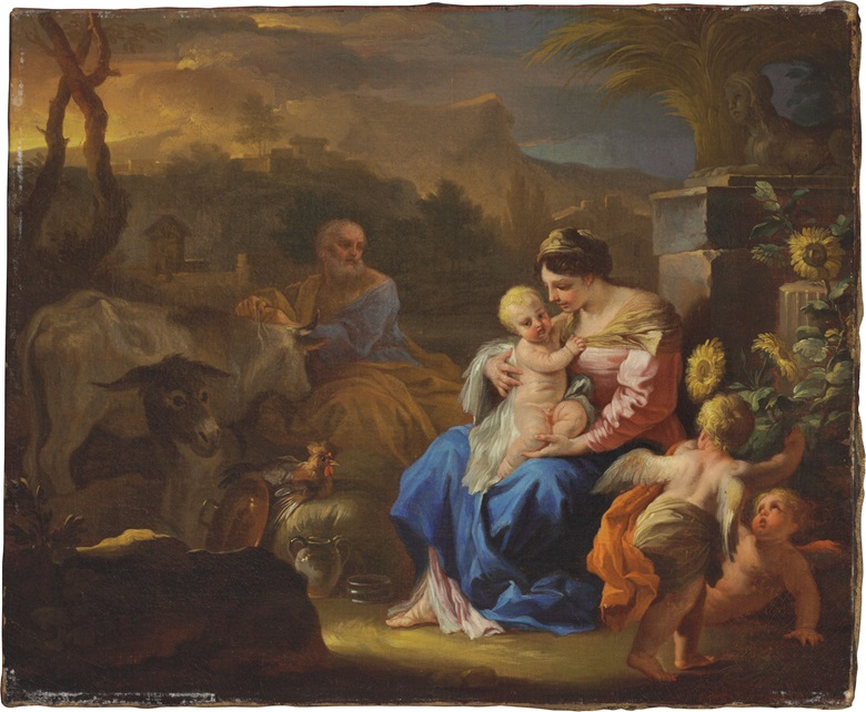 Francesco Solimena (Canale di Serino, The Rest on the Flight into Eygpt. Oil on canvas, 12¼ x 14⅞ in (31.1 x 37.8 cm). Estimate $10,000-15,000. This lot is offered in Old Masters on 26 October 2016 at Christie's in New York, Rockefeller Plaza