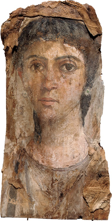 A painted wood mummy portrait of a woman. Roman period, c. 55-70 AD. Sold for $262,400 on 7 December 2006