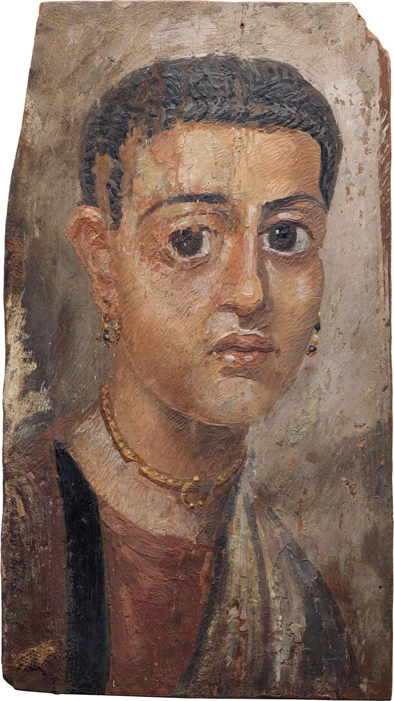 An Egyptian encaustic on wood mummy portrait of a woman. Hadrianic period, c. 2nd century AD 12 116 in (30.6 cm) long. Estimate $150,000-250,000. This lot is offered in Antiquities on 25 October 2016 at Christie's in New York, Rockefeller Plaza