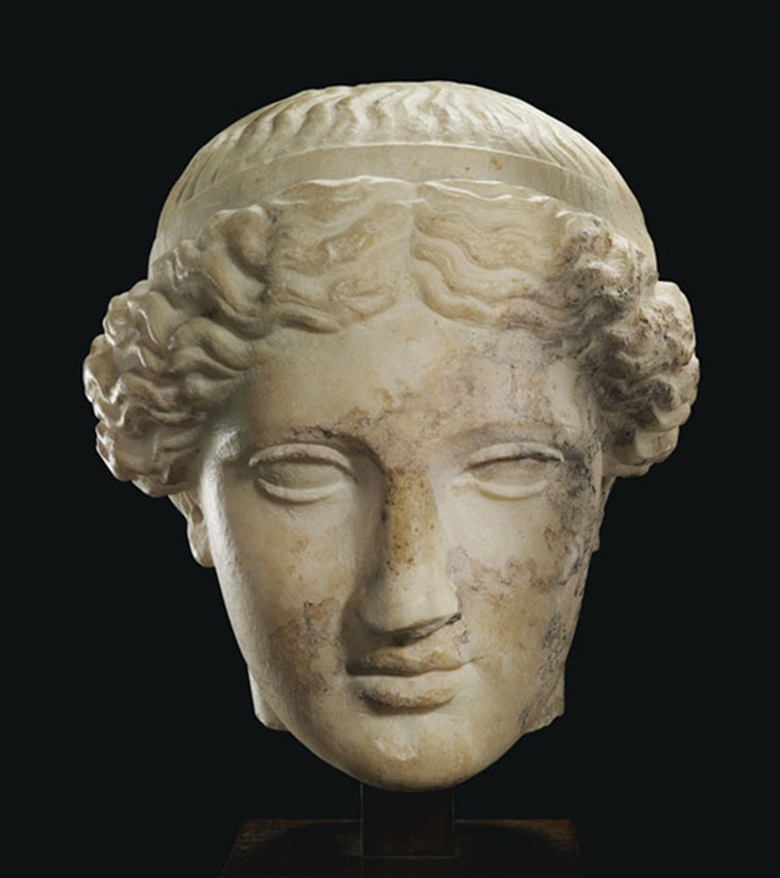 A Roman marble head of Venus. C. 1st century AD. 8 in (20.3 cm) high. This lot was offered in Antiquities on 25 October 2016 at Christie's in New York and sold for $87,500