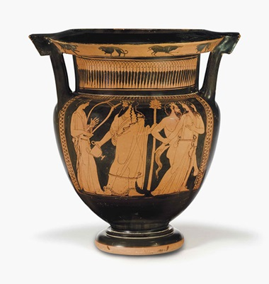 An Attic red-figured column krater. Attributed to The Marlay Painter, c.  450 B.C. 14½ in (36.9 cm) high. This lot was offered in Antiquities on 25 October 2016 at Christie's in New York and sold for $100,000