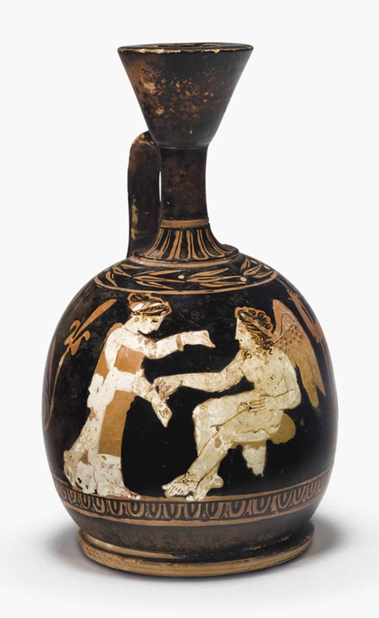 An attic red-figured squat lekythos. Attributed to the Circle of The Meidias Painter. 5 516 in (13.4 cm) high. This lot was offered in Antiquities on 25 October 2016 at Christie's in New York and sold for $32,500