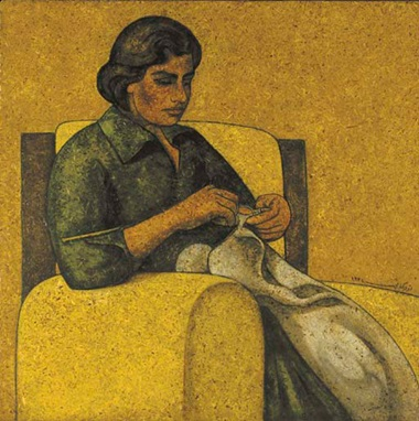 Louay Kayyali (Syria, 1934-1978). Woman Sewing. Oil on masonite, 37⅜ x 37⅜ in (95 x 95 cm). Sold for $42,000 on 24 May 2006