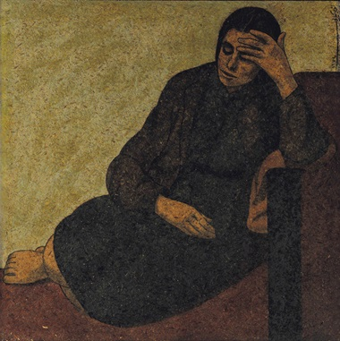 Louay Kayyali (Syrian, 1934-1978), Ghafwa (Slumber). Oil on masonite, 37¼ x 37¼ in (94.5 x 94.5 cm). Estimate $80,000-120,000. This lot was offered in Modern & Contemporary Art  on 18 October 2016 at Christie's in Dubai and sold for $87,500